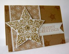 Stampin' Up! ... handmade Christmas card ... Bright and Beautiful star ... gold and white ... quite a delight!