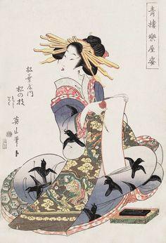Kikugawa Eizan (1787-1867) 菊川英山 (Japan) Courtesan Matsunoe of Matsuba House1812 from the series Behind the Scenes of Red Light DIstrict