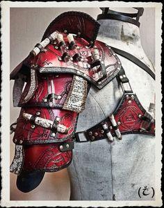 Red leather shoulder armor - Alchemist -