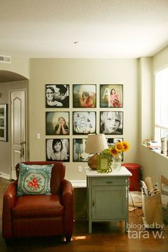 love this idea for photos on the wall