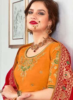 Mustard Jacquard Silk Multi Colored Woven Lehenga Choli with Embroidered Border Banarasi Lehenga, Silk Lehenga, Silk Sarees, Plain Lehenga, Orange Lehenga, Embroidered Clothes, Embroidered Lace, Green Silk, Indian Bridal