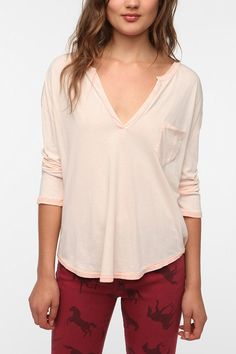 Ecote washed split neck henley tee from urban outfitters!