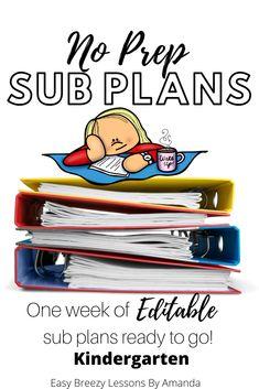Kindergarten Sub Tub Week Full Substitute Plans No Prep) Third Grade Math, Fourth Grade, First Grade, Second Grade, Curriculum, Homeschool, Science Lessons, Ready To Go, Classroom Management