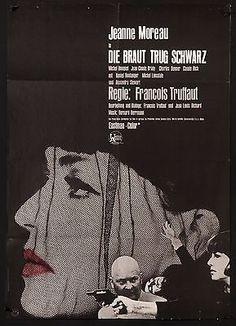 "THE BRIDE WORE BLACK 1968 23""x33"" Jeanne Moreau Francois Truffaut filmartgallery"