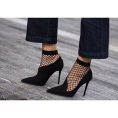 Suede Stiletto Heel Pointed Toe High Heels Party Shoes - worn with fishnet socks! Socks And Heels, Shoes Heels, Asos Shoes, Dress Shoes, Fishnet Socks, Mode Shoes, High Heels Stilettos, Black Heels, Stiletto Heels