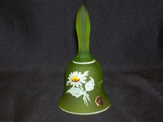 Westmoreland Green Glass Bell Hand Painted by GarageSaleGlass, $11.99
