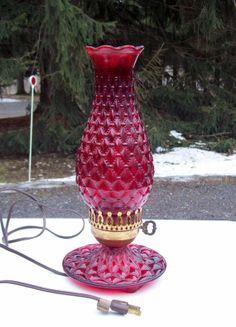 Vintage Red Glass Hobnail Electric Lamp by Raidersoflostloot, $21.00
