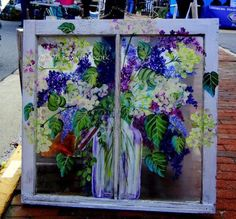 Old Fashioned Blossoms - Hand Painted Window by Beyond the Cork. Old Windows Painted, Painted Window Panes, Window Pane Art, Painting On Glass Windows, Vintage Windows, Window Frames, Painted Screens, Antique Windows, Wood Windows