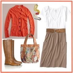 Orange Cardigan, Fall outfit
