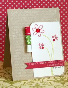Would scrap probably rather than stamp but I LOVE the simplicity and the ribbon!