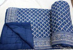 Indian Kantha Quilt Hand Block Printed Indigo Blue Cotton Razai Blanket Throw  #Handmade #ArtsCraftsMissionStyle