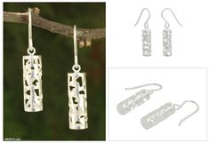 Modern Brushed Silver Earrings from Thailand - Forest Shadow | NOVICA