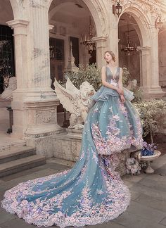 Praise Wedding: Utterly blown away by this fairytale-inspired pastel floral gown from Bella Wedding Dress of . Bella Wedding Dress, Luxury Wedding Dress, Classic Wedding Dress, Colored Wedding Gowns, Colored Wedding Dresses, Stunning Dresses, Nice Dresses, Glamouröse Outfits, Fantasy Gowns