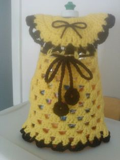 """Another beautiful dress for dish soap bottle. 52 oz. Bottle.  This one, for a """"Sunflower kitchen Set."""