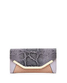 Lilac Snakeskin Colour Block Purse | New Look