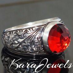 Ringe - Silber Herrenring mit Rot Zirconia Unikat Schmuck - ein Designerstück von KaraJewels bei DaWanda