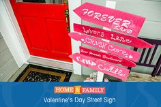 Valentine's Day Sign Post - Whether you're looking for love or have found the perfect fit, @paigehemmis' Love Street Sign will always point you in the right direction! Catch Home and Family weekdays at 10/9c on Hallmark Channel!