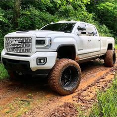 Wearing white and playing in the mud Chevy Diesel Trucks, Lifted Chevy Trucks, New Trucks, Custom Trucks, Cool Trucks, Pickup Trucks, 6x6 Truck, Jeep Truck, Muddy Trucks