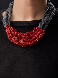 Red Black Semi Precious Stones Handcrafted Necklace - Red Black Semi Precious Stones Handcrafted Necklace The Effective Pictures We Offer You About antiq - Black Necklace, Diy Necklace, Necklace Designs, Stone Necklace, African Beads Necklace, African Jewelry, Coral Jewelry, Gemstone Jewelry, Bead Jewellery