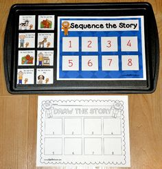 """The Sequence the Gingerbread Man Story Cookie Sheet Activity is a story sequencing activity.  After you have read, """"The Gingerbread Man,"""" to your students, you can use this activity in your literacy center. Students look at the pictures and sequence the events of the story.  This cookie sheet activity also includes an extension activity.  After the students have practiced on the cookie sheet activity, students may draw the events on the accompany activity page."""