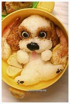 Dog bento. If I ate that, I'd blame myself to be a heartless killer ^^