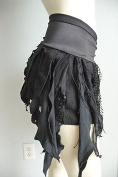 I THINK THIS IS THE SKIRT!!  JUST NEEDS TO BE A BIT LONGER!    Pixie Skirt Belly Dance Fringe Hip Scarf / Wrap / Skirt black  /  Frindges Lace gothic steampunk fairy victorian upcycled