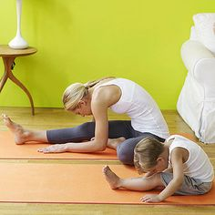Yogis say this pose improves digestion, so it will give your little one an overall feeling of calm. Sit with right leg stretched out in front of you and left foot against inside of right thigh. Bend forward and make a smooching sound as you kiss your right knee. (Bend right knee if necessary to make it easier.) Slowly come back to starting position; repeat up to three times before switching legs.