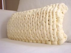 Knit Lumbar Pillow  Vanilla Buttercream by danasjoy on Etsy