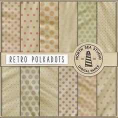 BUY5FOR8 Retro Digital Paper Retro Polkadot by NorthSeaStudio