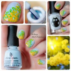 "PhD nails: China glaze Dashboard dreamer and ""Mimosa"" nail ar..."
