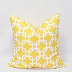 "18x18"" Lattice GOTCHA LINK Geometric Suede Home Decor Square THROW PILLOW CASE PILLOW Cover CUSHION COVER 45cm (Yellow)"