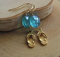 Life Is Short Buy the Sandals Earrings in Gold by vintagerelics, $29.00