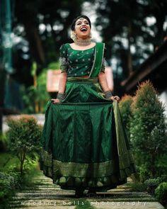 Kerala Saree Blouse Designs, Half Saree Designs, Bridal Blouse Designs, Kerala Engagement Dress, Engagement Dress For Bride, Lehenga Saree Design, Lehenga Designs, Indian Gowns Dresses, Indian Fashion Dresses