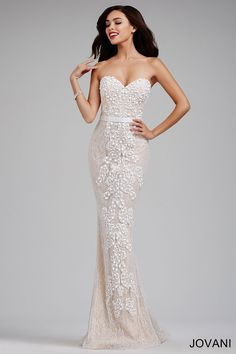 Strapless lace fitted gown with nude underlay, sweetheart neckline, and tone on tone beads