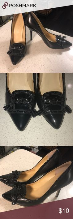 Black stiletto heels by Ivanka Trump Black patent leather stilettos with leather bow and tassels by Ivanka Trump. Great condition! Ivanka Trump Shoes Heels