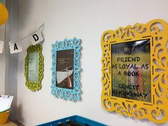 Inexpensive unfinished frames from Michaels. Spray painted and then filled in with quotes of choice for high school classroom.