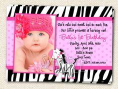 Zebra Print Hot Pink  Custom Photo Birthday by LollipopPrints, $12.59
