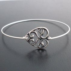 Swirly Heart Bangle Bracelet   Silver Swirly by FrostedWillow, $14.95-probably a small, maybe medium