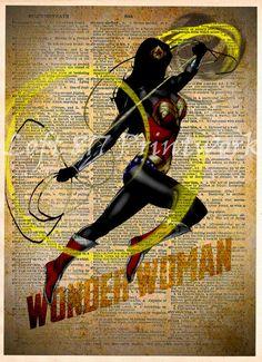 Wonder Woman Print, Wonder Woman wall art, Vintage pop art, Retro Super Hero Art, Dictionary print art