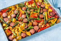 Pan Honey Garlic Sausage + Veggies One Pan Honey Garlic Sausage + Veggies for Dinner in a Hurry! - Clean Food CrushOne Pan Honey Garlic Sausage + Veggies for Dinner in a Hurry! Veggie Recipes, Real Food Recipes, Healthy Recipes, Healthy Eats, Diet Recipes, Recipies, Healthy Dinners, Eating Healthy, Healthy Living