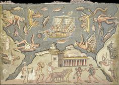 Mosiac floor, port scene Roman, North Africa, 1-300