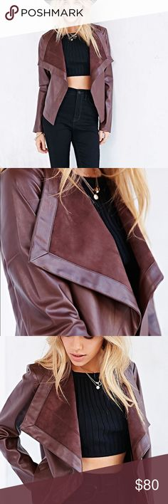 BB Dakota Vegan Leather Jacket Urban Outfitters Sweetly edgy, drapey jacket from BB Dakota in smooth vegan leather with a wide, spread collar. In a relaxed fit with a cascading open front. Lined inside, pockets, worn a handful of times in great condition!!! Urban Outfitters Jackets & Coats