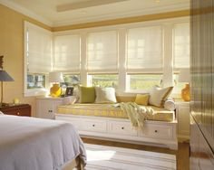 Traditional Bedroom Design, Pictures, Remodel, Decor and Ideas - I'd love a window seat surrounded by windows like this, so bright and cozy!