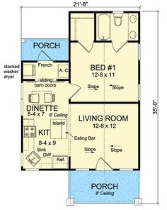 Tiny Cottage House Plan - 52282WM | 1st Floor Master Suite, Bungalow, CAD Available, Cottage, PDF | Architectural Designs