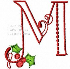 This free embroidery design from Amazing Embroidery Designs is the letter M from the Christmas Alphabet.
