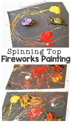 Spinning Top Fireworks Painting Whether for New Year's Eve, Bonfire Night, or July, Fireworks always make a fun theme for art work with the kids. We first tried out spinning top painting a while back, with a huge cardboard canvas in our Firework Tattoo, Firework Nail Art, Firework Painting, Fireworks Quotes, Fireworks Pictures, Fireworks Art, Diwali Fireworks, Bonfire Night Activities, Bonfire Night Crafts