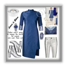 """""""A Jeans Dress can be glam!"""" by cripagni on Polyvore featuring moda, Taro Horiuchi, Yves Saint Laurent, STELLA McCARTNEY, blomus, Helmut Lang, Rolex, Melissa Odabash, Chaps e RtA"""