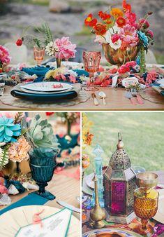 Cristaleria de colores en las bodas