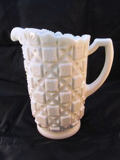 "Westmoreland Milk Glass Pitcher - ""Old Quilt"" with Maker's Mark - Hard To Find #Westmoreland"