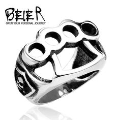 2016 Men's Punk Ring 316L Stainless Steel Cool Fist Skull Katar Style Rings Fashion Jewelry Wholesale Price BR8-027